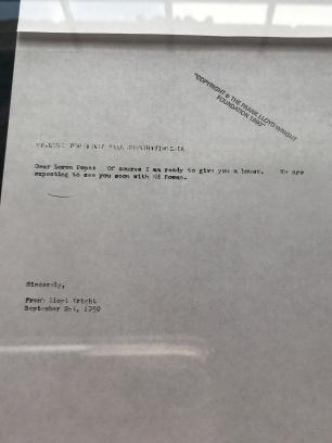 FLLW Correspondence to Pope